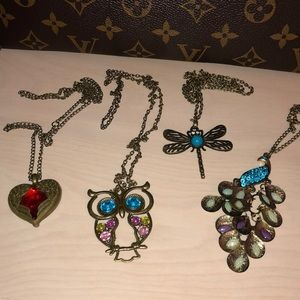 Jewelry - Set of 4 Necklaces Heart, Peacock, Dragonfly, Owl